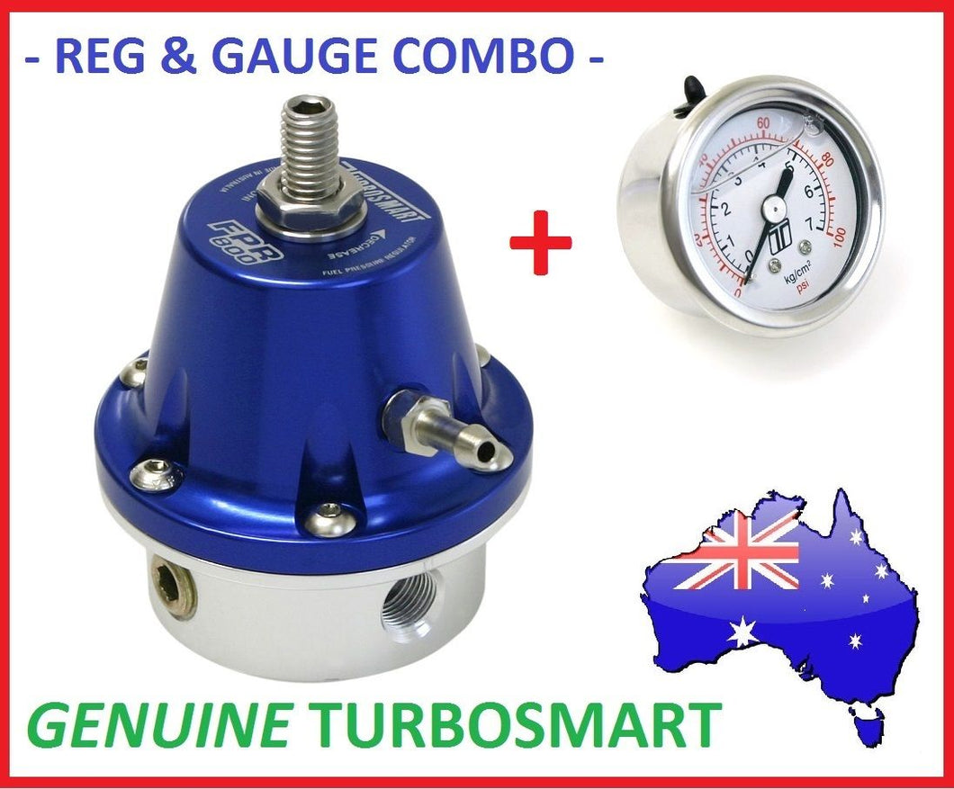 Genuine TURBOSMART Blue FPR-800 Fuel Pressure Reg Regulator 1/8 NPT + Gauge