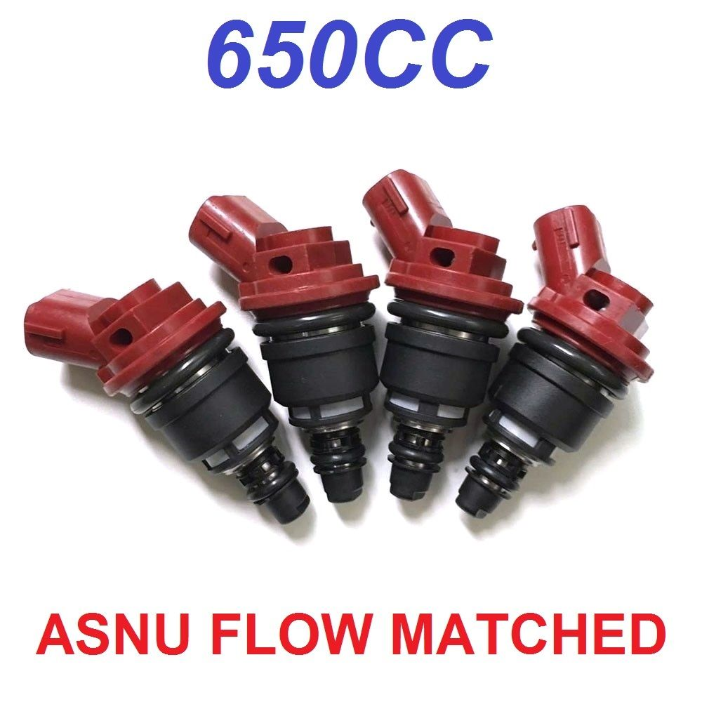 4 X JECS 650CC Side Feed Fuel Injectors FOR SUBARU LEGACY GT EJ25 STI SIDE FEED