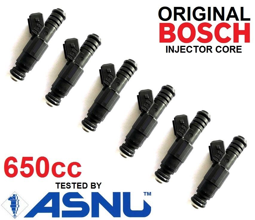 6 BOSCH Fuel Injectors for Ford BA BF XR6 turbo 650cc 60lb 62lb 65lb EV6 FPV HSV
