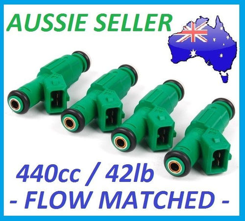 Fuel Injectors x 4 440cc 42lb FORD FOCUS ZETEC ST170 BMW E30 E36 E46 Green Giant