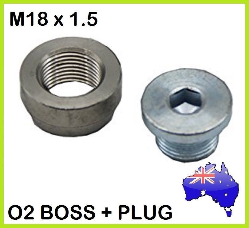 18MM M18 x1.5 O2 OXYGEN SENSOR BOSS BUNG WELD ON EXHAUST FITTING & PLUG WIDEBAND