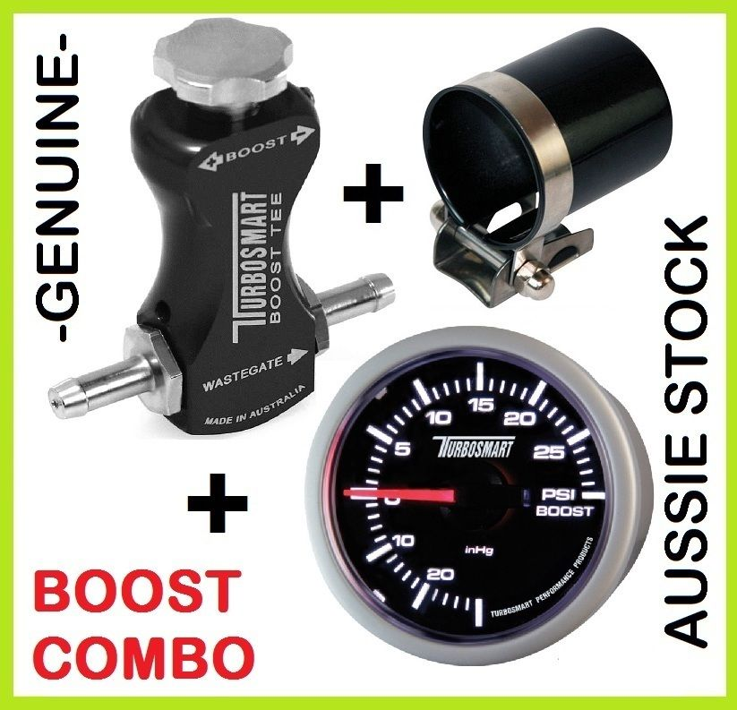 TURBOSMART Boost Tee Black Turbo Boost Controller + 52mm Gauge + Mounting Cup