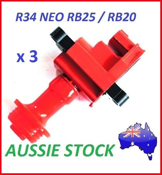 New Red Performance Ignition Coil for Nissan R34 Skyline GTT RB25DET Neo x3