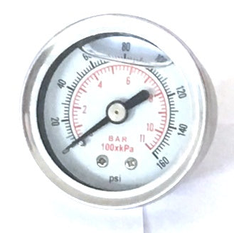 Liquid Filled Fuel Pressure Gauge 0 - 160 psi 1/8 NPT Fitting - Chrome