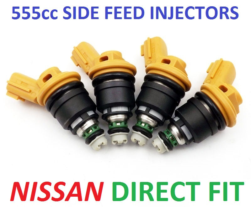 4 x 550cc 555cc JECS Side Feed Fuel Injectors for NISSAN NISMO SR20 S13 S14 S15