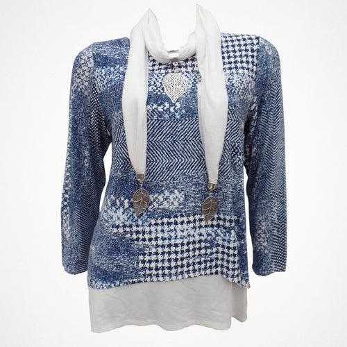 Denim Blue Overlay Top With Scarf