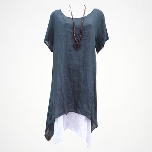 Denim Layered Linen Side Split Dress with Necklace