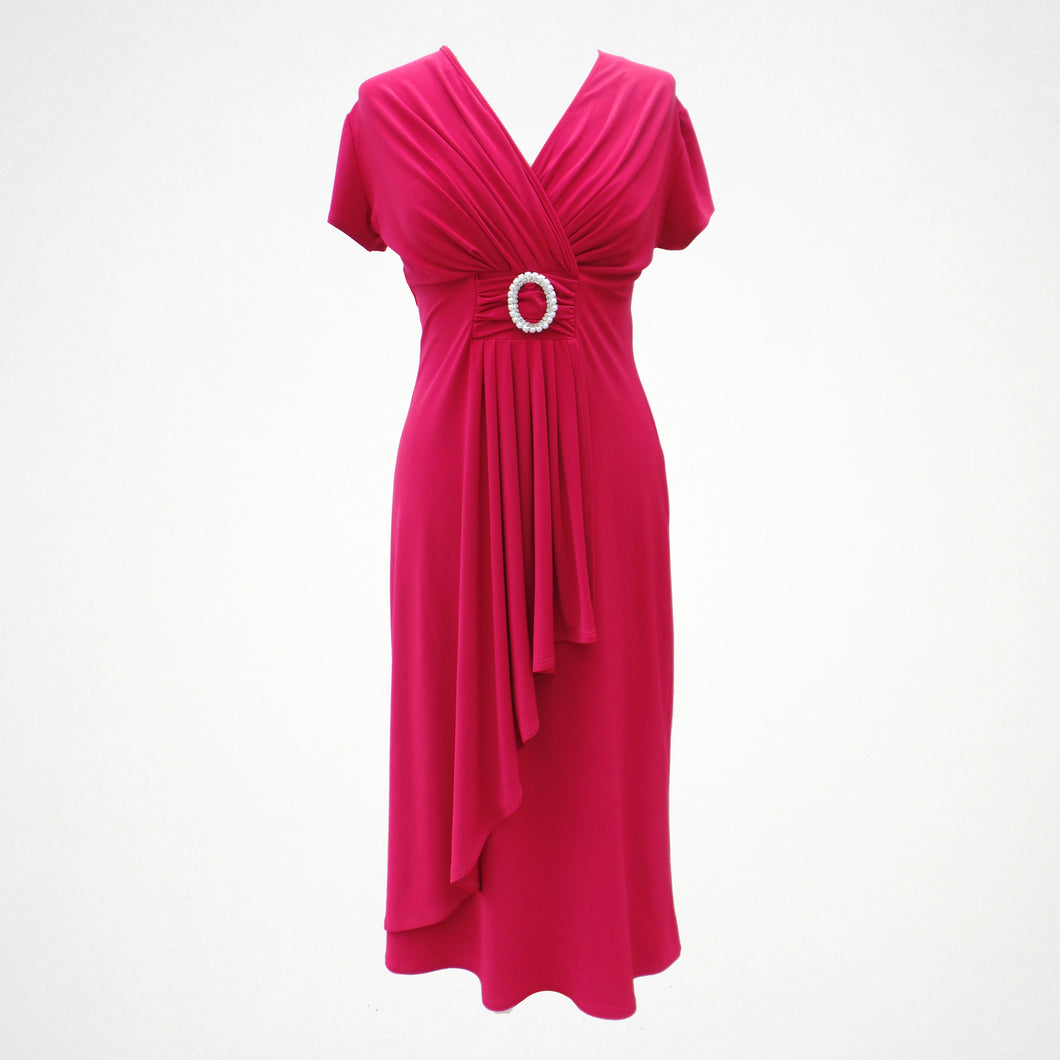 Pink Cocktail Pearl Buckle Dress