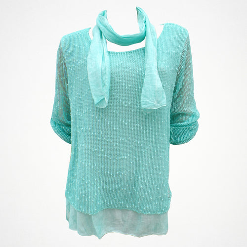 Layered Top With Scarf in Mint/Blue