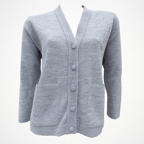 Grey Knitted Warm Cardigan with Flower Embellishment on Chest