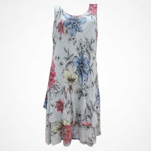 Grey Mustard Floral Print Cotton Dress