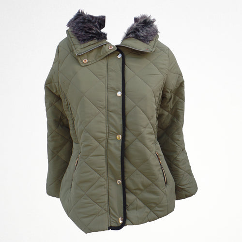 Khaki Winter Zipped Jacket