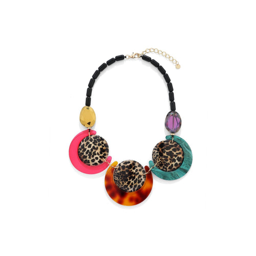 Leopard Print Round Disc Necklace