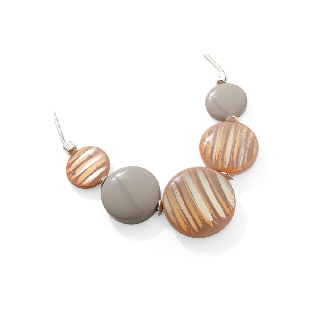 Beige Painted Stripe Detail Necklace