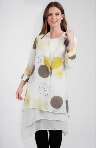 Alanna Abstract Yellow Double Layered Linen Look Dress
