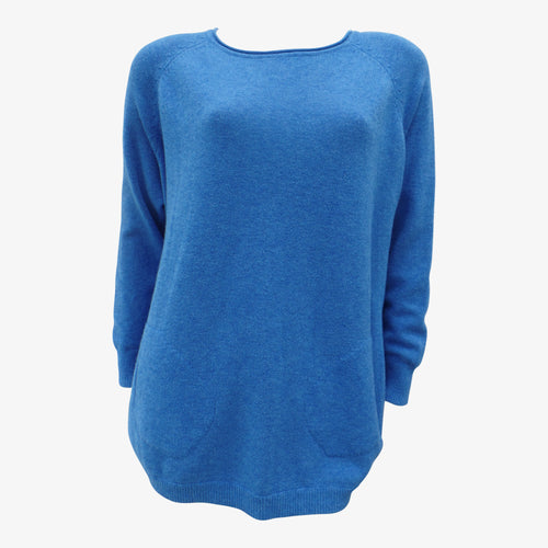 Blue Two Pocket Jumper With Side Buttons