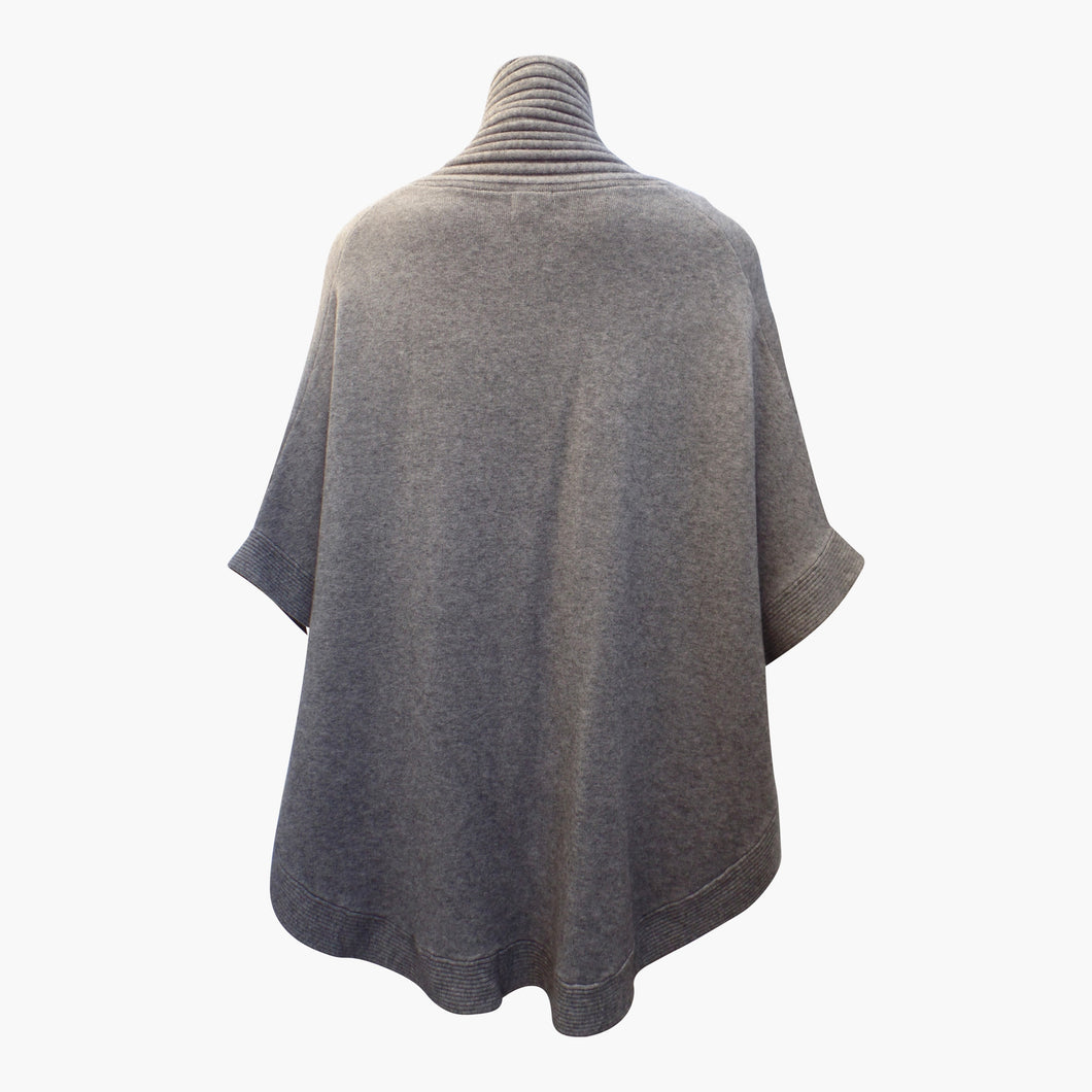 Grey Warm Winter Cape with Border