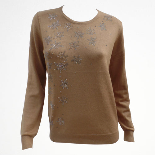 Beige Jumper with Butterfly Sequin Detail