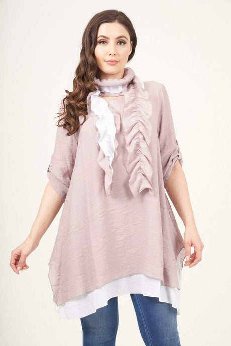 Pink Layered Tunic With Scarf