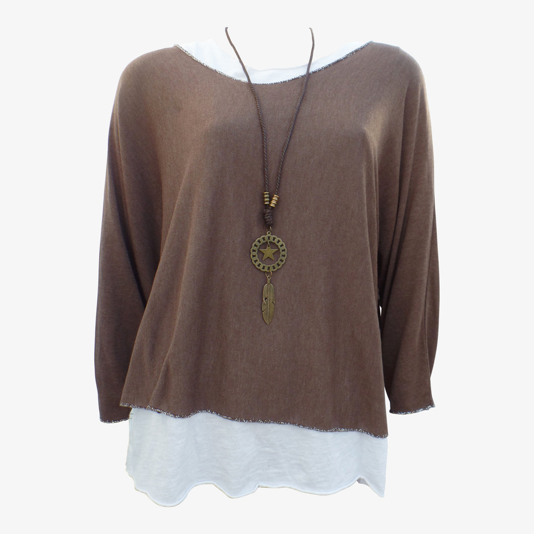 Brown Layered Top with Necklace