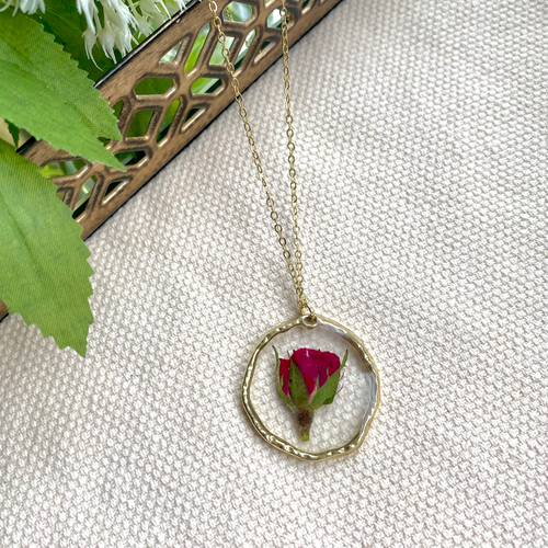 Real Rose Pressed Flower Necklace in Antique Gold