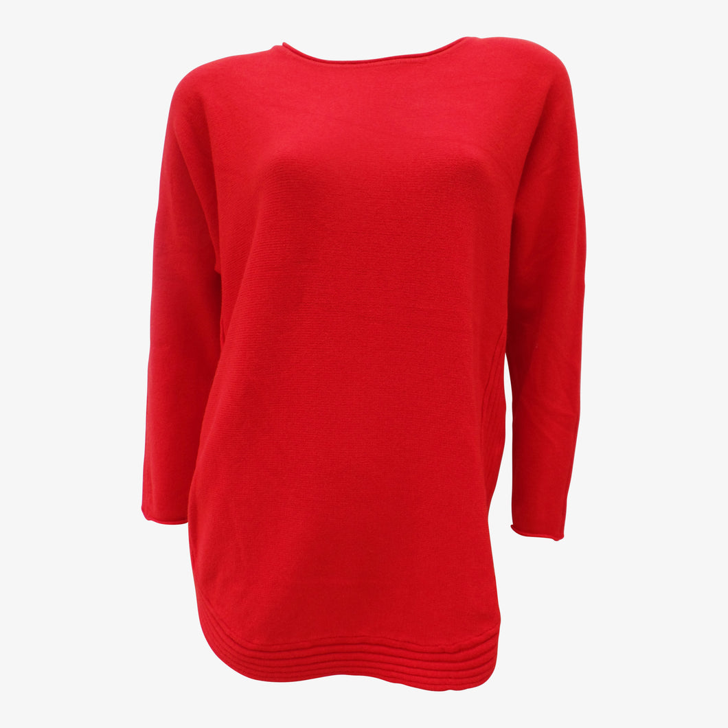 Red Wool Blend Jumper with Border Outline