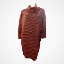 Rust Patterned Two Pocket Knit Dress