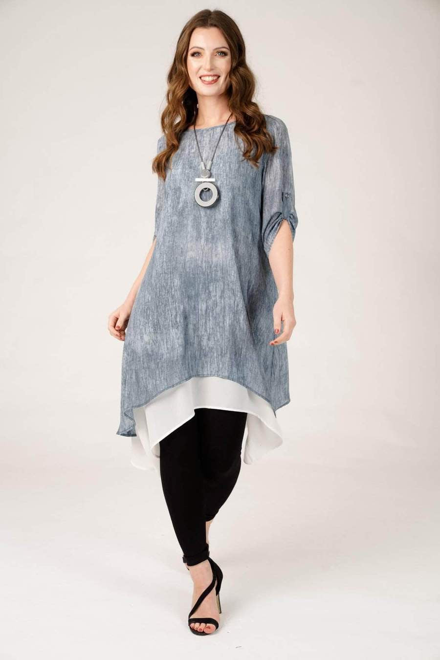Denim Double layered Midi Dress with Necklace