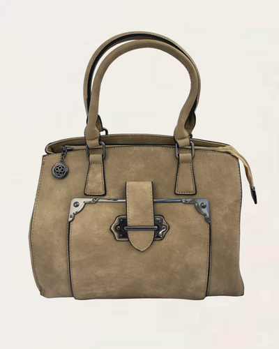 Luna Large Taupe Handbag with Buckle Detail
