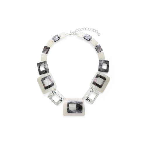 Square White and Silver Detail Necklace