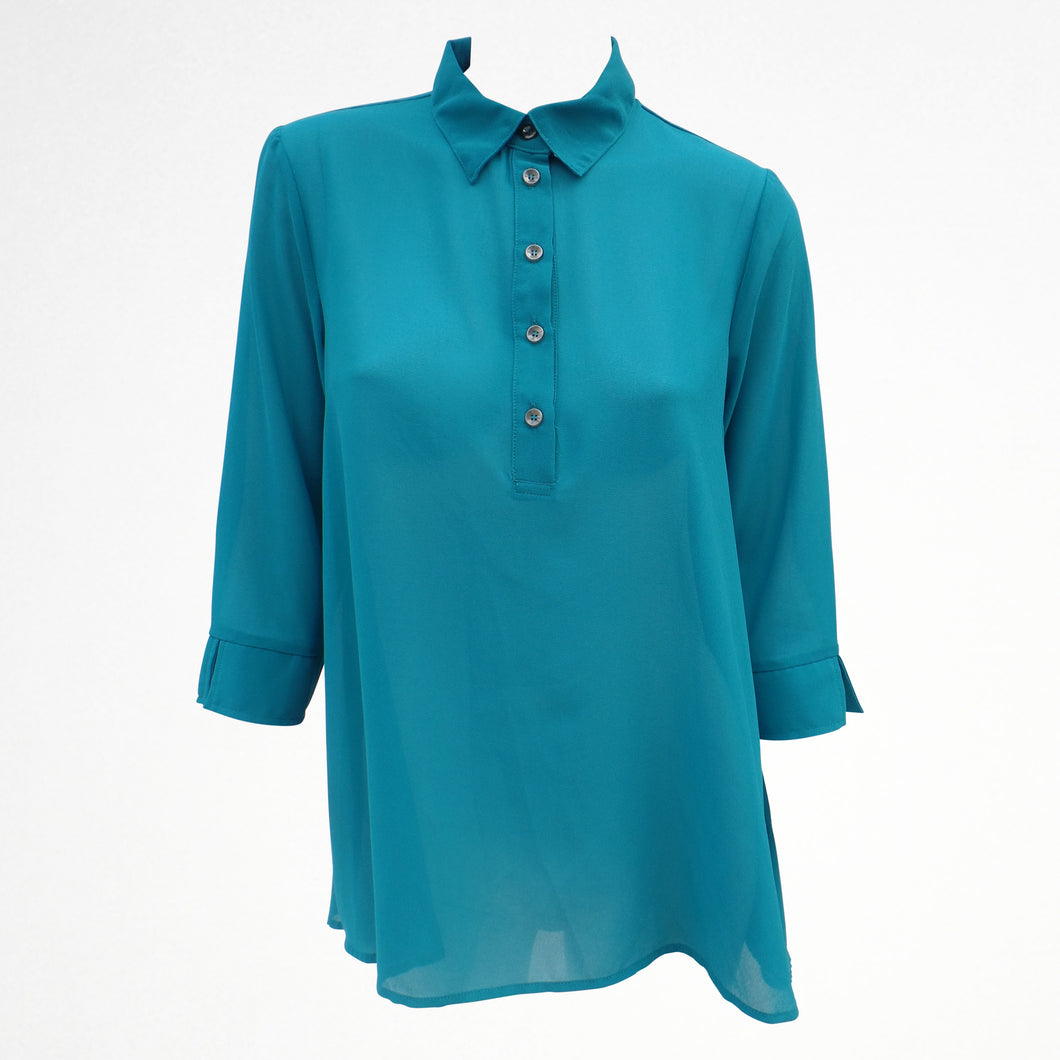 Blue Sheer Shirt Blouse