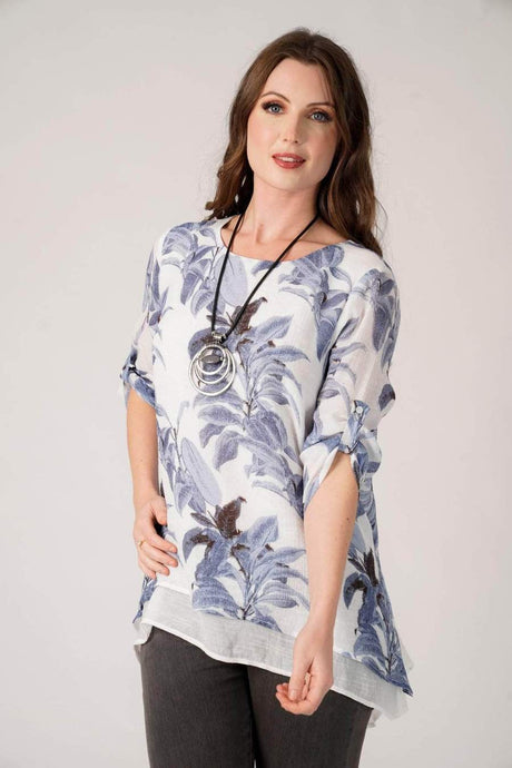 Alanna Blue Floral Top With Necklace