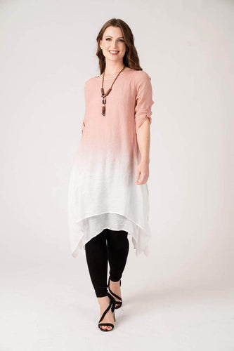 Pink Tie-Dye Linen Dress with Necklace