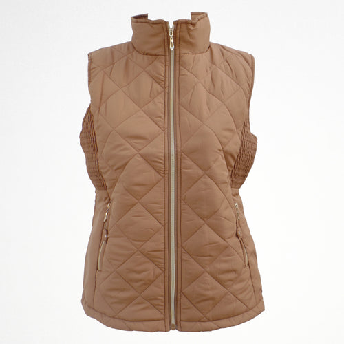 Women's Beige Gilet Jacket With Fleece Lining