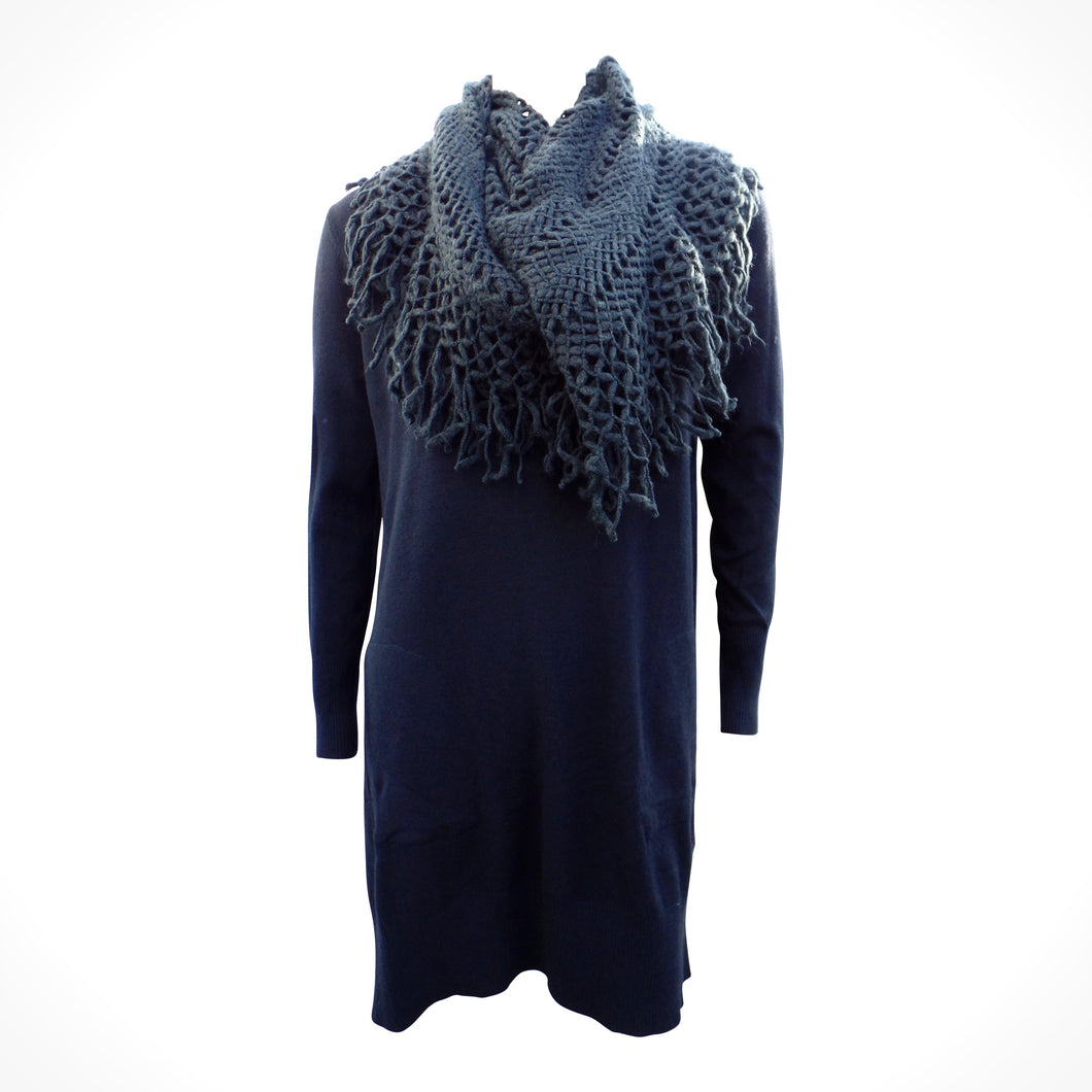 Navy Knitted Dress Top With Wraparound Scarf