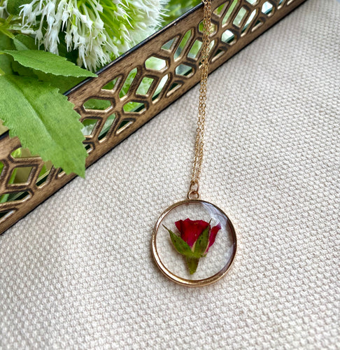 Real Pressed Rose Flower Necklace in Rose Gold