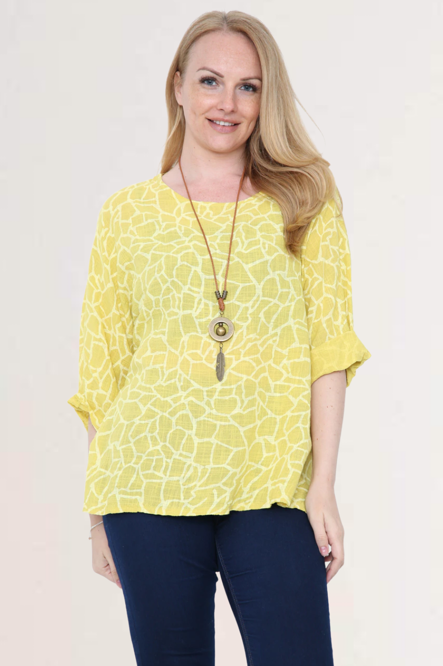 Ella Yellow Linen Giraffe Print Top with Necklace