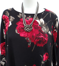 Red Rose Black Blouse With Necklace