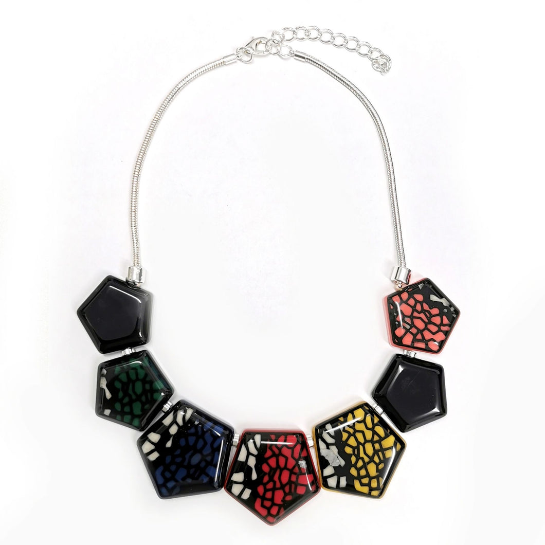 Hexagon Colourful Necklace