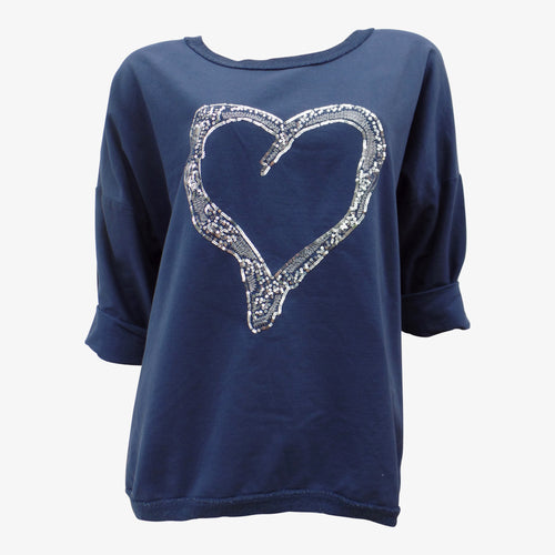 Navy Jumper With Sequin Heart Detail