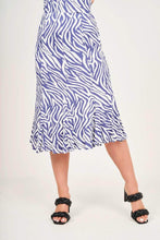 Light Blue Animal Print Midi Skirt