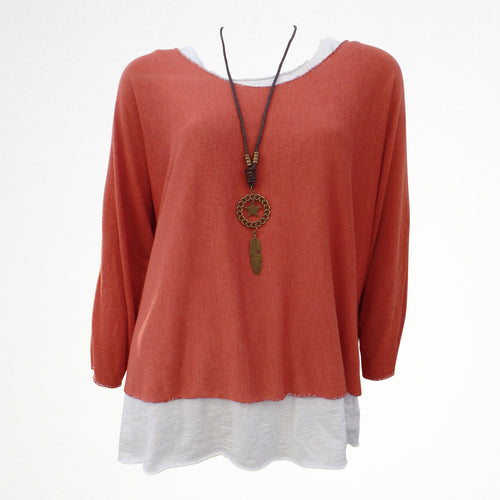 Orange Layered Top with Necklace