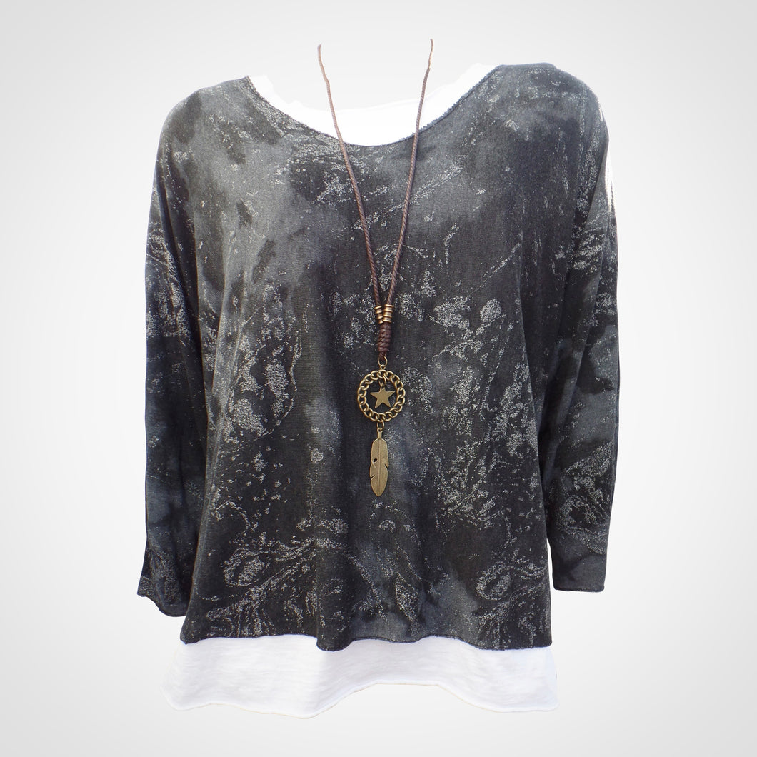 Black Double Layer Top with Necklace
