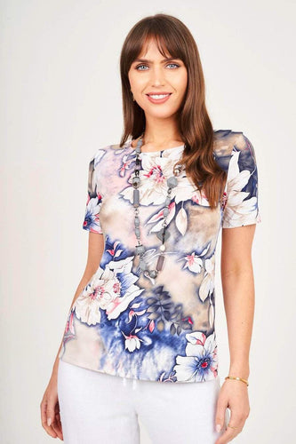 Floral Short Sleeve Top With Grey Necklace