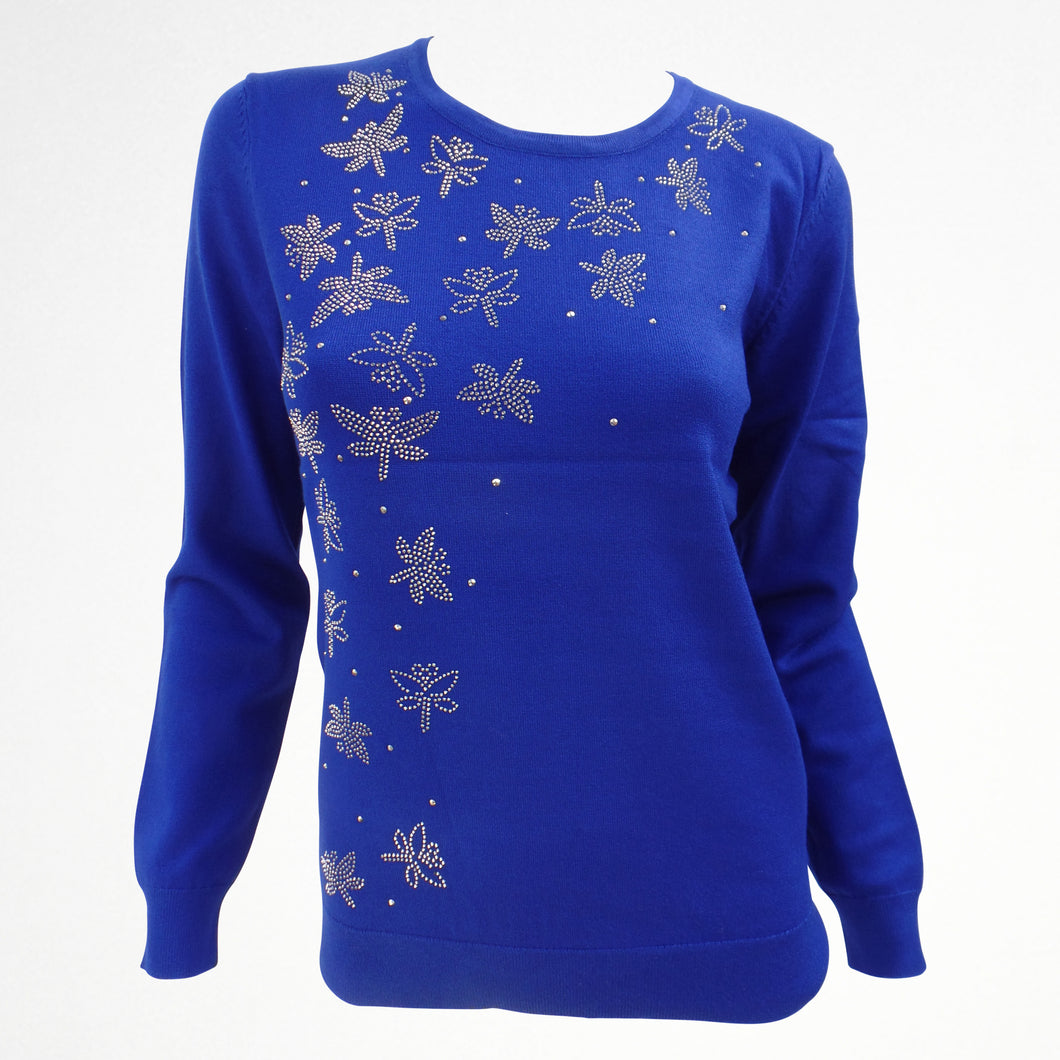 Blue Jumper with Butterfly Sequin Detail