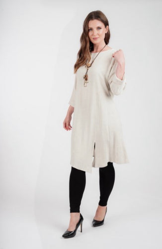 Natural Linen Look Dress with Necklace