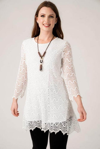 White Crochet Look Lace Tunic with Necklace