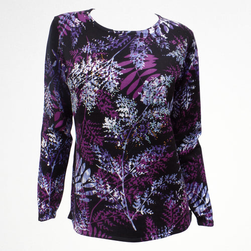 Black Jumper With Purple Floral Pattern