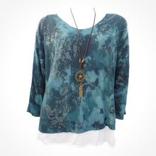 Teal Blue Double Layer Top with Necklace