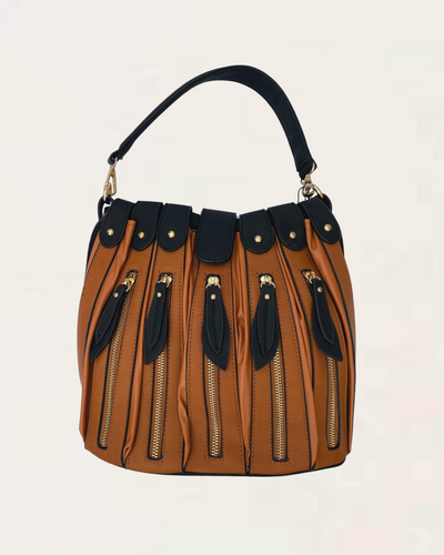 Bloom Large Tan and Navy Handbag with Zip Detail